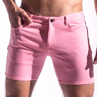 St33le Pink Stretch Knit Jean Shorts