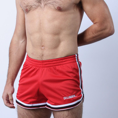CellBlock 13 Crossover Mesh Shorts - Red/Black