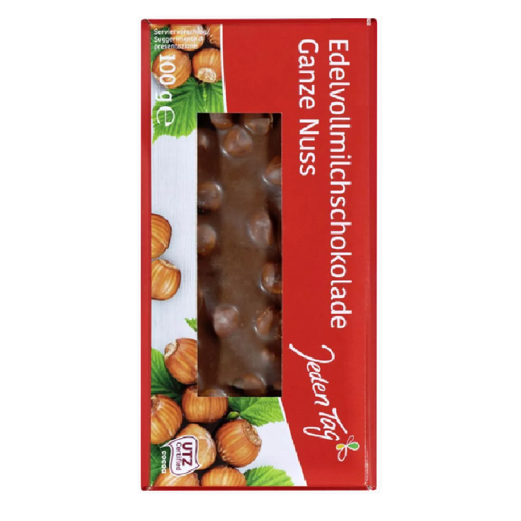 Every day chocolate bars, whole nuts 100g