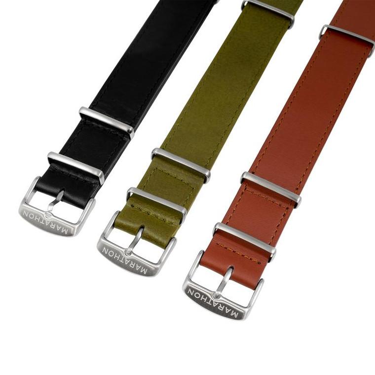 Marathon Leather NATO Watch Strap - Stainless Steel Hardware