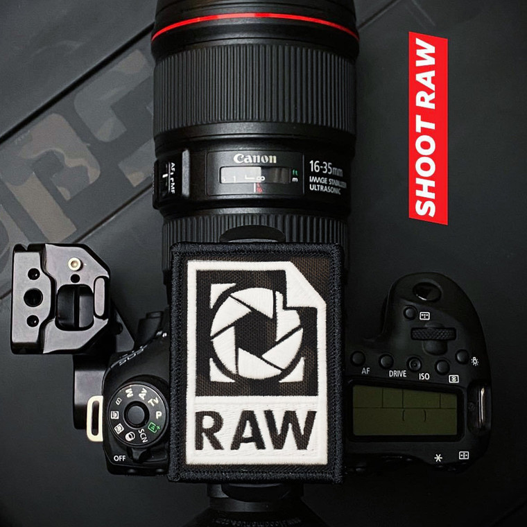 PS Patch Designs Photography - Shoot Raw MultiCam Black Patch