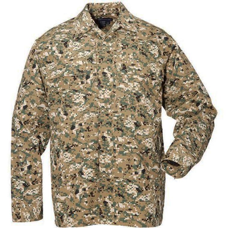 5.11 Tactical TDU Long Sleeve Shirt Ripstop - Woodland Camo