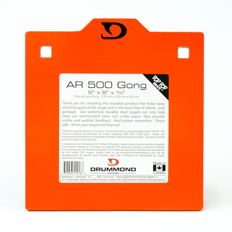 "Drummond Shooting AR500 Steel Gong - 9""x9"""
