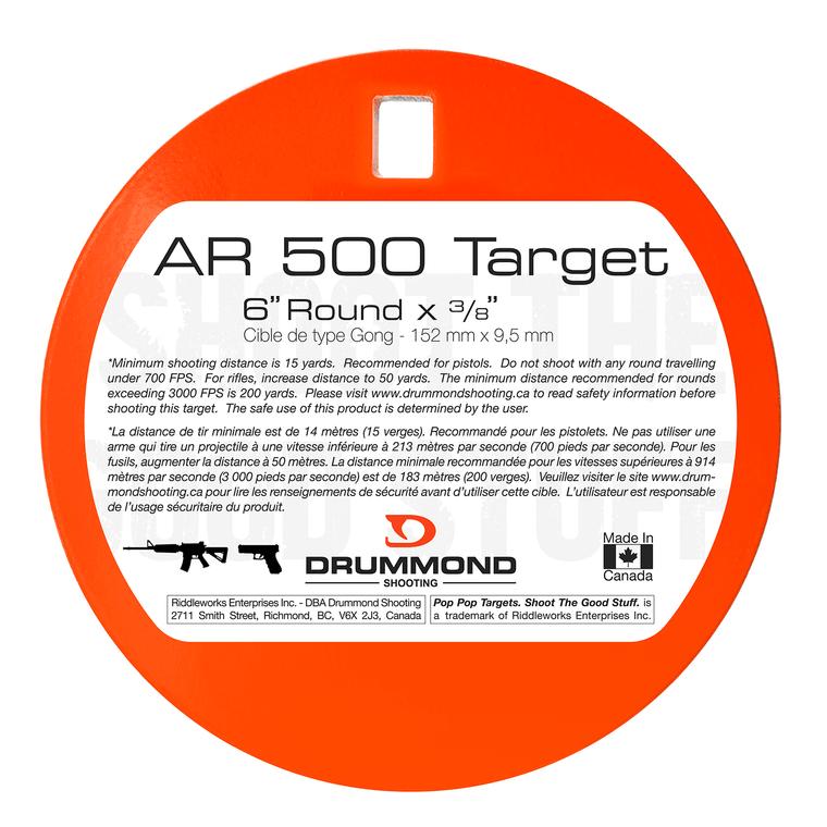 "Drummond Shooting AR500 Steel Target - 6"" Round"
