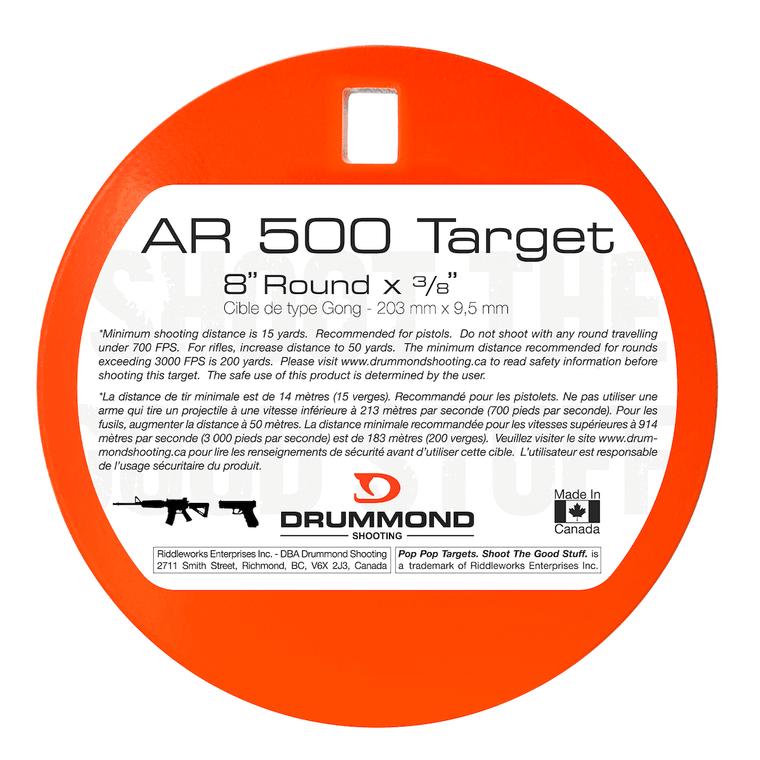 "Drummond Shooting AR500 Steel Target - 8"" Round"