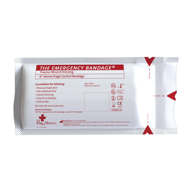 """Persys Medical 6"""" Emergency (Israeli) Bandage - White"""