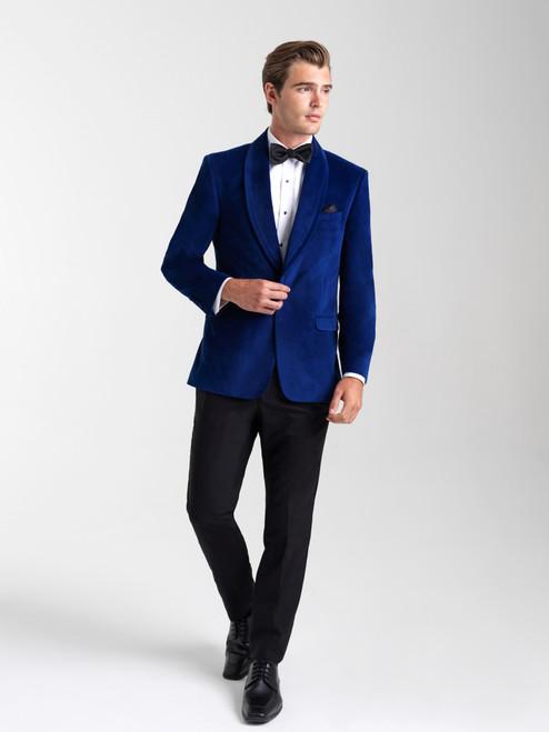 AM154 - Velvet Sapphire Blue Men's Slim Coat