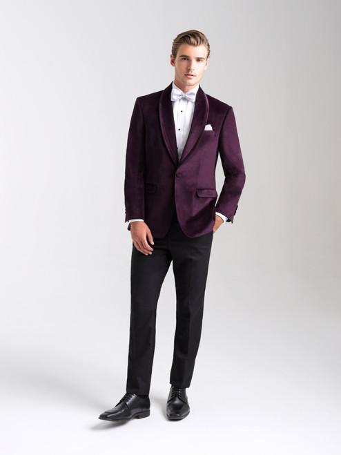 AM154 - Velvet Eggplant Men's Slim Coat