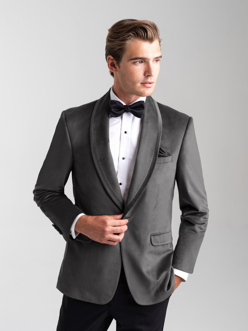 AM155 - Silver Gray Men's Ultra Slim Coat