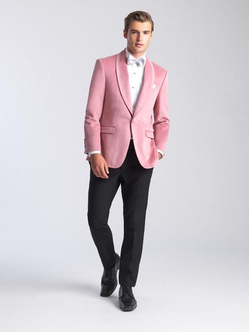 AM154 - Velvet Dusty Rose Men's Slim Coat