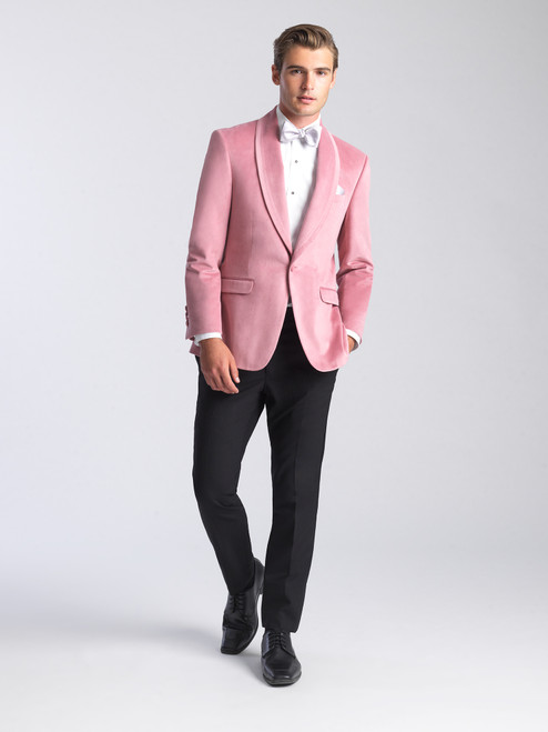 AM155 - Velvet Dusty Rose Men's Ultra Slim Coat