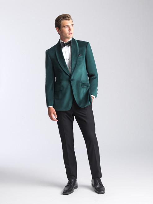 AM154 - Velvet Emerald Green Men's Slim Coat