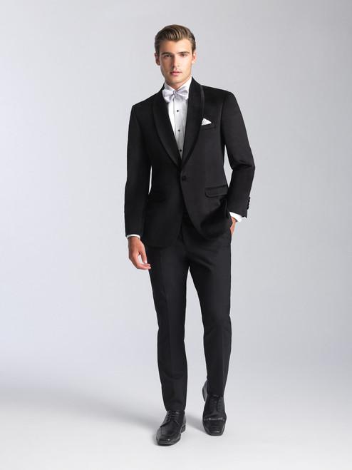 AM155 - Velvet Onyx Black Men's Ultra Slim Coat