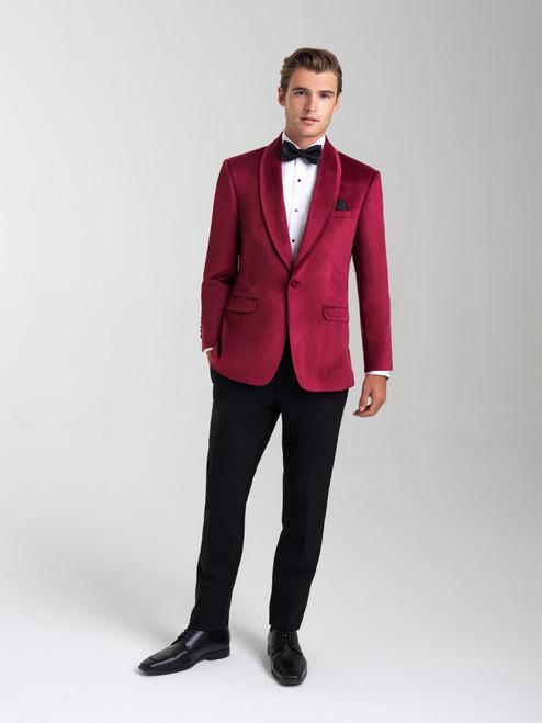 AM154 - Velvet Ruby Red Men's Slim Coat