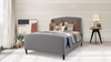 Gia Wingback Platform Bed, Queen, Light Grey