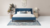 Clarice Wingback Accent Platform Bed, King, Satin Teal