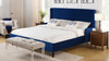 Clarice Wingback Accent Platform Bed, King, Navy Blue