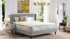 Clarice Wingback Accent Platform Bed, King, Silver Grey