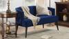 Malachi Mid-Century Modern Upholstered Settee, Navy Blue