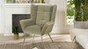 Gerald Mid-Century Modern Tufted Wingback Armchair, Stone Grey
