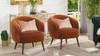 London Mid-Century Modern Ruched Barrel Chair, Burnt Orange