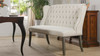 Belle Wingback Dining Banquette Settee, Natural White
