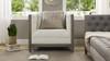 Sylvan Tuxedo Armchair, Wood Base, Natural White