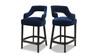 """Moderne 26"""" Upholstered Bar Stool (Set of 2), Indigo Blue"""