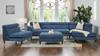 Bartelt RAF Modular Modern Sectional Chaise Sofa, Imperial Blue Velvet Microfiber