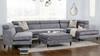 Bartelt RAF Modular Modern Sectional Chaise Sofa, Platinum Grey Velvet Microfiber