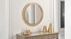 "Dauphin 31.5"" Round Gold Accent Wall Mirror, Golden Oak"