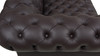 "Baron 91"" Genuine Leather Chesterfield Sofa, Rich Brown"
