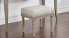 Dauphin Upholstered Vanity Accent Stool, Silvery Check