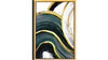 "Abstract Green Flow Acrylic Glass Art, Gold Frame Wall Art, 24"" x 36"", Gold White Green"