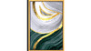 """Abstract White Flow Acrylic Glass Art, Gold Frame Wall Art, 24"""" x 36"""", Gold Gray Green"""