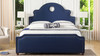 Flora Tall Keyhole  Arch Panel Headboard Bed, King, Midnight Blue