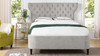 Robyn Tufted Curved Back Headboard Panel Bed, Queen, Silver Grey