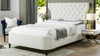Robyn Tufted Curved Back Headboard Panel Bed, Queen, Antique White