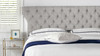 Robyn Tufted Curved Back Headboard Panel Bed, King, Silver Grey