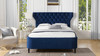 Robyn Tufted Curved Back Headboard Panel Bed, King, Navy Blue