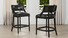 "Paris 26"" Farmhouse Counter Height Bar Stool with Backrest, Vintage Black Brown Faux Leather"