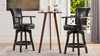 "Williams 27"" Swivel Counter Height Bar Stool, Vintage Black Brown Faux Leather"