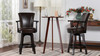 """Williams 27"""" Swivel Counter Height Bar Stool, Vintage Brown Faux Leather"""