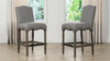 "Odette 26"" Farmhouse Upholstered Counter Height Bar Stool, Dark Heathered Grey Linen"
