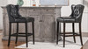 """Richmond 30"""" Armless Wingback Tufted Counter Height Bar Stool, Vintage Black Brown Faux Leather"""