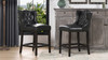 "Richmond 26"" Armless Wingback Tufted Counter Height Bar Stool, Vintage Black Brown Faux Leather"