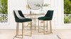 "Maddie 26"" Modern Glam Gold Base Counter Height Bar Stool, Forest Green Velvet"