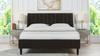 Aspen Upholstered Platform Bed, Queen, Deep Brown