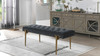 Aria Upholstered Gold Accent Bench, Steel Gray