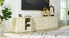 "Facino 71"" Modern Storage TV Stand, White Lacquer Birchwood"
